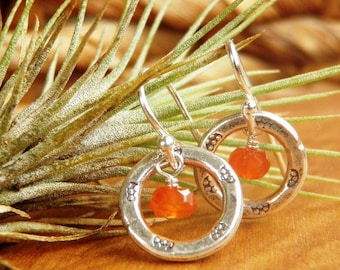 Signature Circles  - Sterling & Thai Silver Earrings with Faceted Carnelian