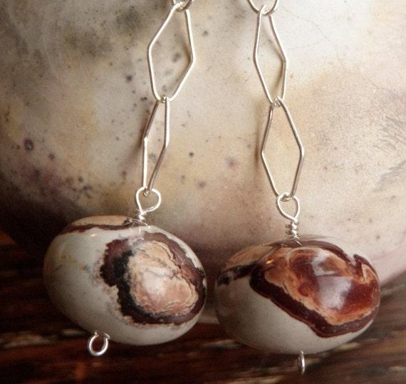 African Brown Rhyolite and Sterling Silver Earrings