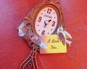 Cinderella brooch -Romantic Valentines Gift - Vintage toy clock parts