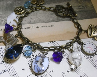 Cinderella bracelet, Sapphire glass drop, Charm bracelet, Afternoon Tea Theme, princess jewelry