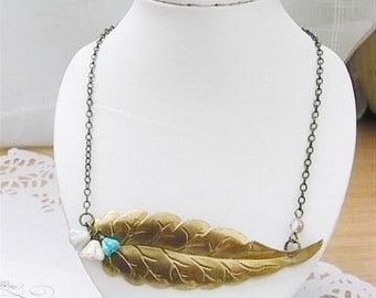 Old brass leave necklace-Autumn memory