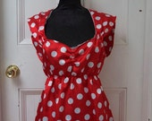 Lovely bright red satin spotty fifties style dress