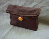 OOAK Handmade pouch clutch flat bottom brown linen