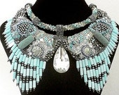 """High Fashion Statement  Necklace """" Under the Moon"""" OOAK Inspired Bead Wearable Art - Free Shipping -"""