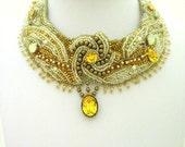 Wedding Bead Embroidered  bib Necklace
