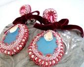 baroque chandelier swarovski earrings , Chandelier Bridal Earrings ,  big bold cocktail earrings , bead work