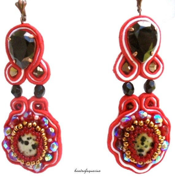black swarovski earrings - One of A kind      free shipping