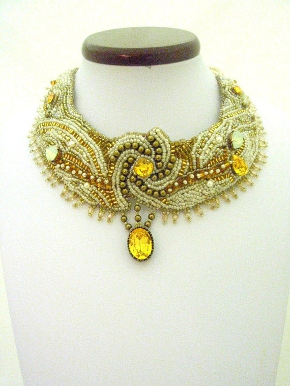 Wedding Bead Embroidered  bib Necklace