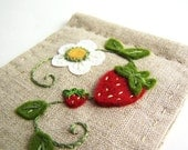Hand Embroidered Summer Strawberry Natural Linen Needlebook