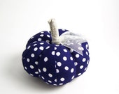 Handmade Navy Blue and White Polka Dot Pumpkin Pincushion