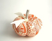 Handmade Orange and White Pumpkin Pincushion