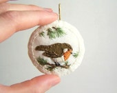 Hand Embroidered Robin on a Branch Ornament