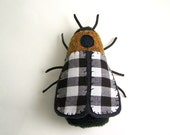 Insect Soft Sculpture in Black and White Gingham