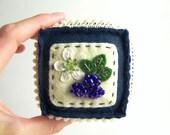 Summer Blackberries Embroidered Wool Felt Pincushion