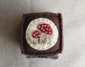 Embroidered Woodland Mushrooms Felt Pincushion