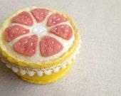 Felt Fruit Pincushion Embroidered Pink Grapefruit