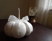 Ivory Damask Decorative Pumpkin Fall Decor