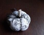 Pumpkin Pincushion Black and White Toile