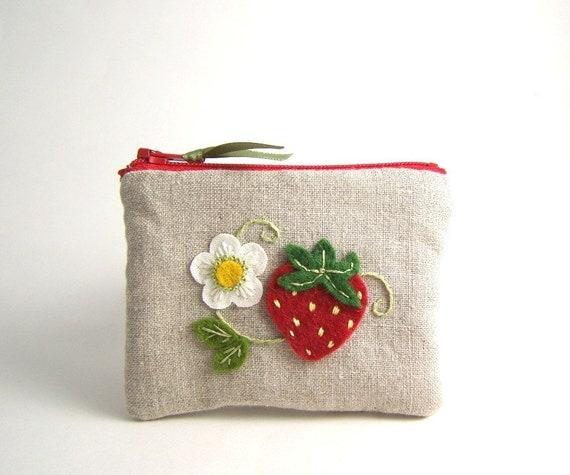 Summer Strawberry Hand Embroidered Linen Zipper Pouch