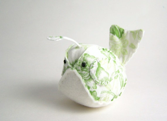 Handmade Decorative Quail in Green and White