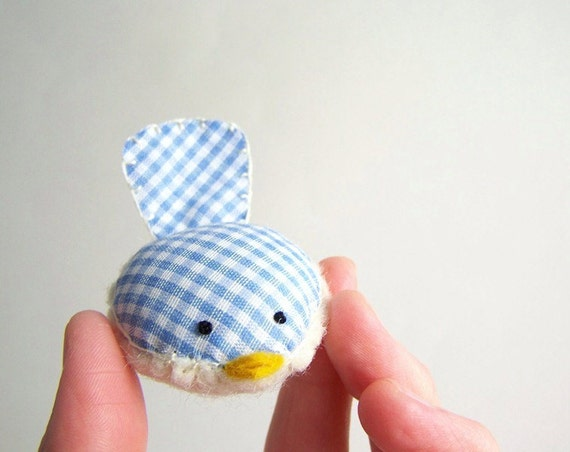 Handmade Decorative Wren in Blue and White Plaid