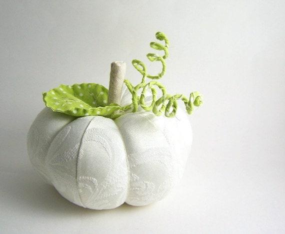 Medium White Decorative Pumpkin with Leaf and Vine Ivory Damask