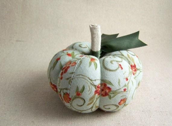 Sage Green and Orange Pumpkin Pincushion Floral Fall Decor