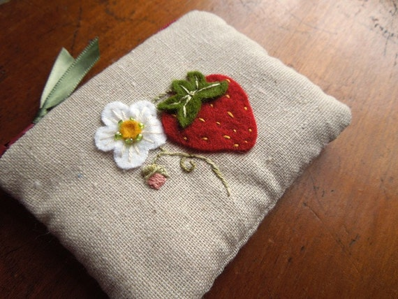 Summer Strawberry Hand Embroidered Zipper Pouch