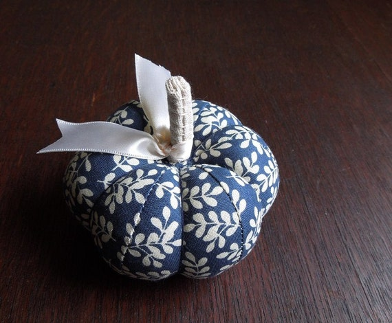 Pumpkin Pincushion Navy Blue and Cream Floral