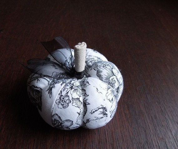 Pumpkin Pincushion Black and White Toile