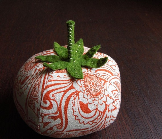 Orange and White Tomato Pincushion