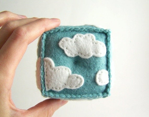 Cloudy Hand Embroidered Wool Felt Pincushion