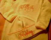 Personalized infant gown and cap set with color choice of hand-crocheted edging with monogram