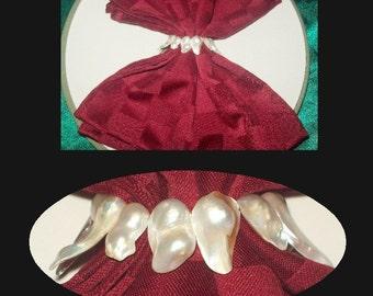 Unique Genuine Raw Pearl Napkin Rings