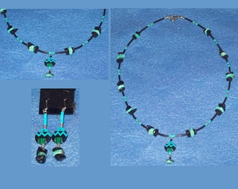Native American Inlayed Neckace and Earrings