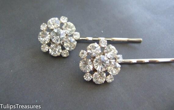 Vintage Rhinestone Bridal Hair Pins, Rhinestone Wedding Hair Pins