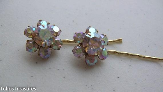 Aurora Borealis Vintage Rhinestone Hair Pins, Hair Jewelry, Repurposed Hair Pin Set, Bobby Pin, Flower Hair Pins