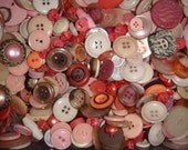 Shades of Pretty PINK Buttons 100 piece random selection of Vintage to Modern Sewing Buttons
