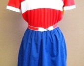 1980's Red, White and Blue Polo Style Dress