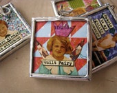 """Quilt fairy I am hanging on by a thread 1.5"""" soldered pendant"""