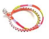 Colorful Friendship Bracelet Double wrap leather crystal hand woven Tribal Chic Bracelet Leather wrap  fashion neon  trendy bracelet