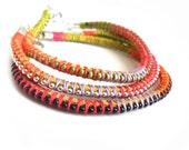 Friendship Bracelets Leather ball chain  Multicolored  handwoven bracelet  Set of three