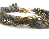 Braided Bracelet  multiple layers Chain suede leather Bracelet stacks / Boho chic / gift for her / Make your own