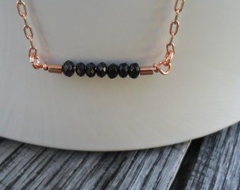 Black crystal bar Rose Gold Necklace / Delicate everyday jewelry / simple necklace / Minimal layering bar / Gift for her  under 30