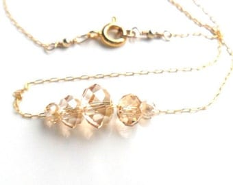 Simple Gold Carrie necklace, Delicate dainty 14K gold chain, Floating crystals,  everyday simple jewelry