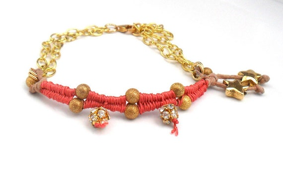 Bracelet gold plated chain leather gold rhinestone beads -shabby chic disco- Metallic fashion coral reef fashion for her under 25