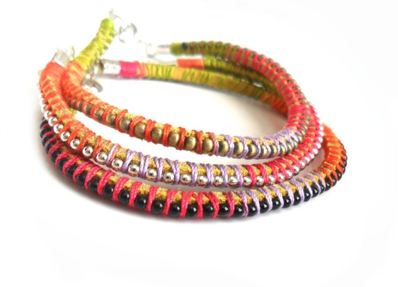 Friendship Bracelets Leather ball chain  Multicolored  handwoven bracelet  Set of three