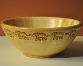 Hand Woodburned Fruit Bowl with Ring of Elephants