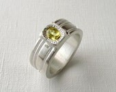 Sapphire Ring For Men Sterling Silver Ring With Yellow Sapphire