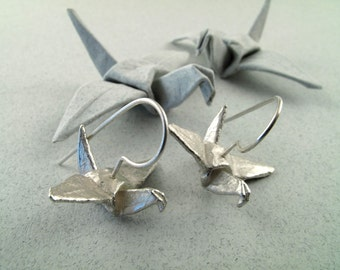Origami Jewelry Silver Crane Earrings Origami Crane Origami Bird